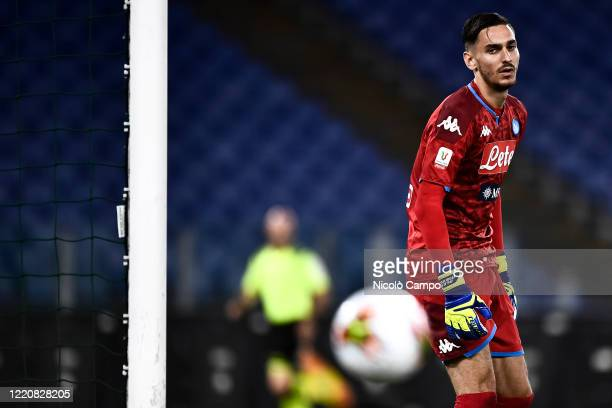 Alex Meret of SSC Napoli eyes the ball during the Coppa Italia final football match between SSC Napoli and Juventus FC SSC Napoli won 42 over...