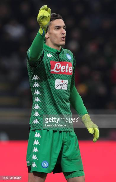 Alex Meret of SSC Napoli gestures during the Coppa Italia match between AC Milan and SSC Napoli at Stadio Giuseppe Meazza on January 29 2019 in Milan...