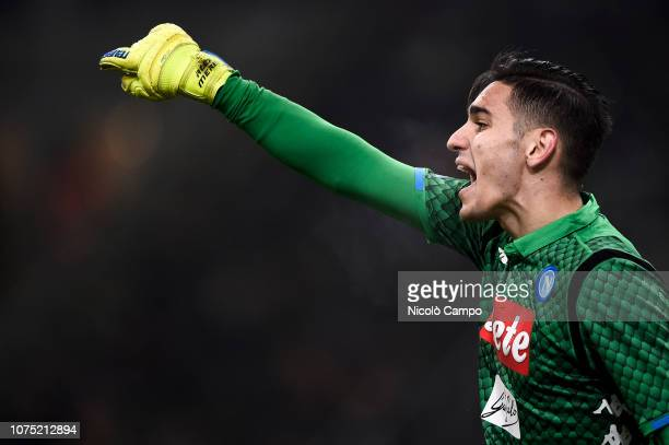 Alex Meret of SSC Napoli gestures during the Serie A football match between FC Internazionale and SSC Napoli FC Internazionale won 10 over SSC Napoli