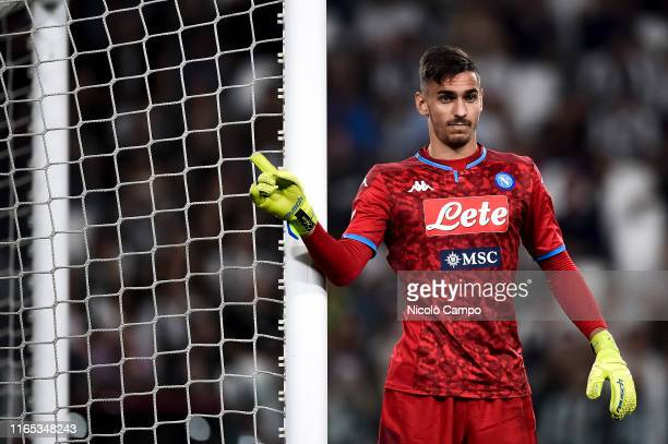 Alex Meret of SSC Napoli gestures during the Serie A football match between Juventus FC and SSC Napoli Juventus FC won 43 over SSC Napoli