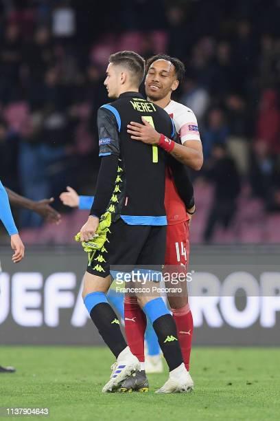 Alex Meret of SSC Napoli greet PierreEmerick Aubameyang of Arsenal after the UEFA Europa League Quarter Final Second Leg match between SSC Napoli and...