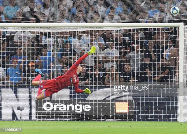 Alex Meret of SSC Napoli in action during the Friendly match between Marseille and Napoli at Stade Velodrome on August 4 2019 in Marseille France