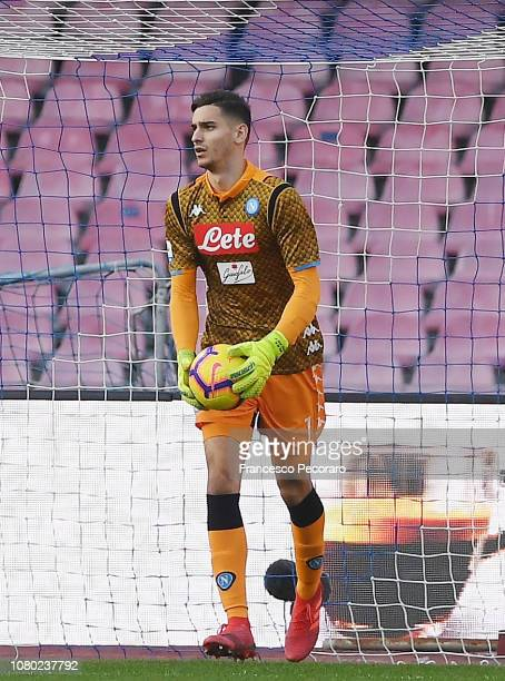 Alex Meret of SSC Napoli in action during the Serie A match between SSC Napoli and Frosinone Calcio at Stadio San Paolo on December 8 2018 in Naples...
