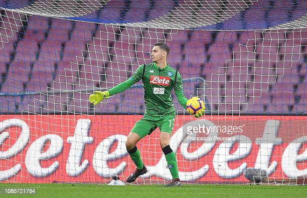 Alex Meret of SSC Napoli in action during the Serie A match between SSC Napoli and Spal at Stadio San Paolo on December 22 2018 in Naples Italy