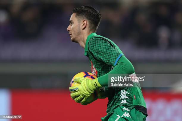 Alex Meret of SSC Napoli in action during the Serie A match between ACF Fiorentina and SSC Napoli at Stadio Artemio Franchi on February 9 2019 in...