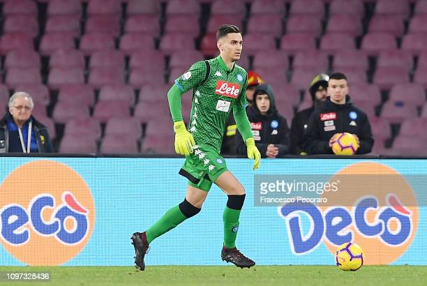 Alex Meret of SSC Napoli in action during the Serie A match between SSC Napoli and SS Lazio at Stadio San Paolo on January 20 2019 in Naples Italy