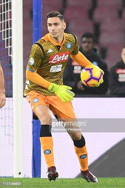 Alex Meret of SSC Napoli in action during the Serie A match between SSC Napoli and UC Sampdoria at Stadio San Paolo on February 2 2019 in Naples Italy