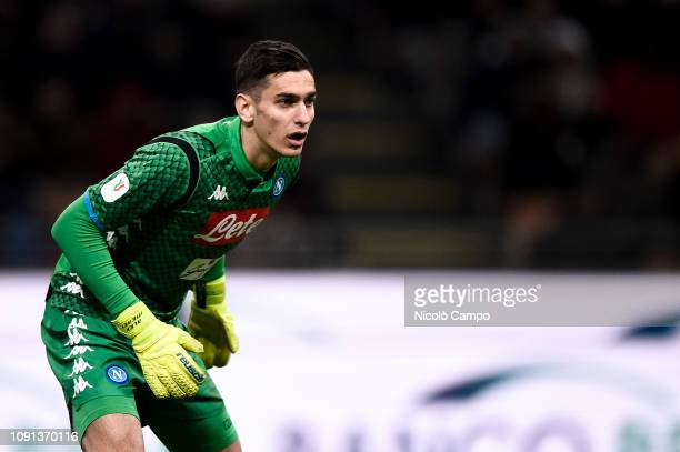 Alex Meret of SSC Napoli looks on during the Coppa Italia quarterfinal football match between AC Milan and SSC Napoli AC Milan won 20 over SSC Napoli