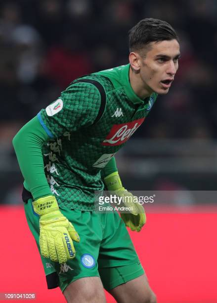 Alex Meret of SSC Napoli looks on during the Coppa Italia match between AC Milan and SSC Napoli at Stadio Giuseppe Meazza on January 29 2019 in Milan...