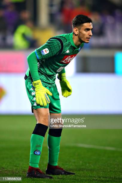 Alex Meret of SSC Napoli looks on during the Serie A match between ACF Fiorentina and SSC Napoli at Stadio Artemio Franchi on February 09 2019 in...