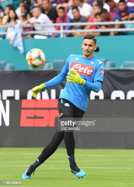 Alex Meret of SSC Napoli warms up prior to the preseason friendly match between FC Barcelona and SSC Napoli at Hard Rock Stadium on August 7 2019 in...