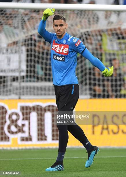 Alex Meret of SSC Napoli warms up prior to the Serie A match between Juventus and SSC Napoli at on August 31 2019 in Turin Italy
