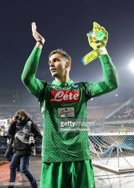 Alex Meret player of SSC Napoli celebrates the victory after the Serie A match between SSC Napoli and Spal at Stadio San Paolo on December 22 2018 in...