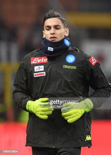 Alex Meret warms up during the Coppa Italia match between AC Milan and SSC Napoli at Stadio Giuseppe Meazza on January 29 2019 in Milan Italy