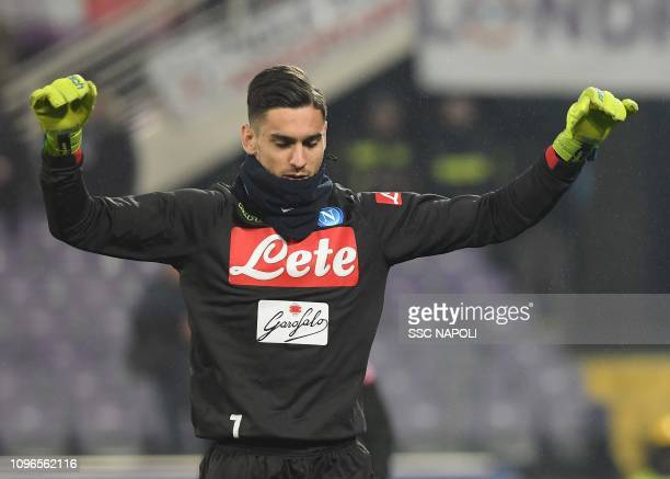 Alex Meret warms up prior to the Serie A match between ACF Fiorentina and SSC Napoli at Stadio Artemio Franchi on February 9 2019 in Florence Italy