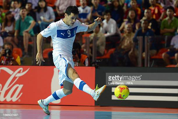Alex Merlim of Italy scores his teams first goal during the FIFA Futsal World Cup SemiFinal match between Italy and Spain at Indoor Stadium Huamark...