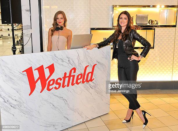 DJ Alex Merrell and Model Agatha Relota Luczo attend the Cocktails Couture luxury event at Westfield Valley Fair on November 12 2015 in Santa Clara...