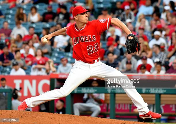 Alex Meyer of the Los Angeles Angels in the game against the Washington Nationals at Angel Stadium of Anaheim on July 19 2017 in Anaheim California