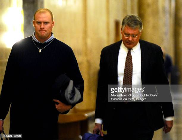 Alex Midyette walks to the courtroom with his lawyer XXXXXXXXX at the Denver County Court House in Denver Colorado January 10 2009 CAMERA/Mark...