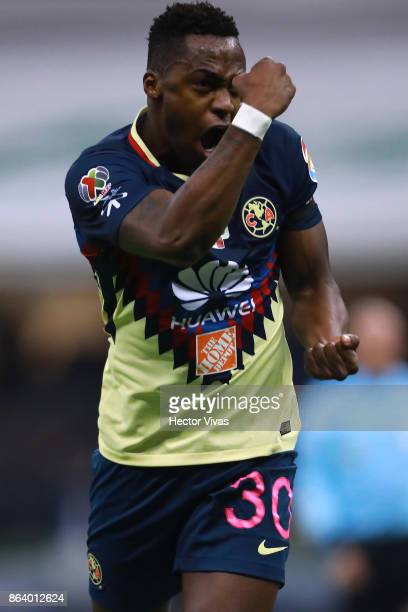 Alex Mina of America celebrates after scoring the second goal of his team during the 10th round match between America and Chivas as part of the...