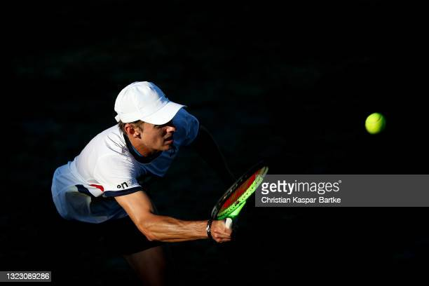 Alex Minaur of Australia plays a forehand during his match against Jurij Jurij Rodionov of Austriaof Austria during day 5 of the MercedesCup at...