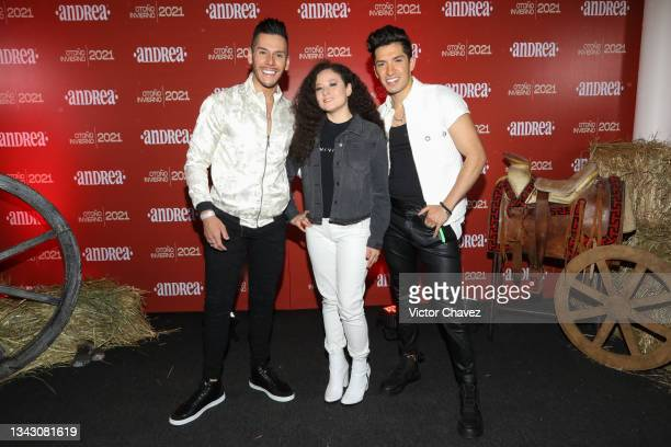 Alex Mont, Aomi and Arturo Ponce attend the presentation of the Fall/Winter collection by Andrea at TV Azteca Ajusco on September 26, 2021 in Mexico...