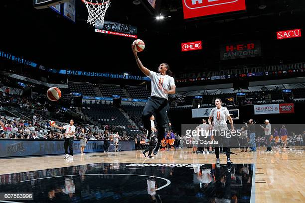 Alex Montgomery of the San Antonio Stars goes for a lay up before the game against the Phoenix Mercury on September 18 2016 at ATT Center in San...