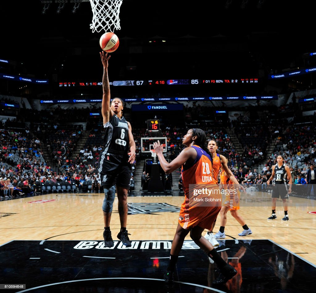 Alex Montgomery #6 of the San Antonio Stars shoots the ball against the Phoenix Mercury on July 7, 2017 at the AT&T Center in San Antonio, Texas.