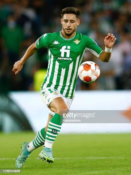 Alex Moreno of Real Betis during the UEFA Europa League match between Real Betis and Bayer 04 Leverkusen played at Benito Villamarin Stadium on...