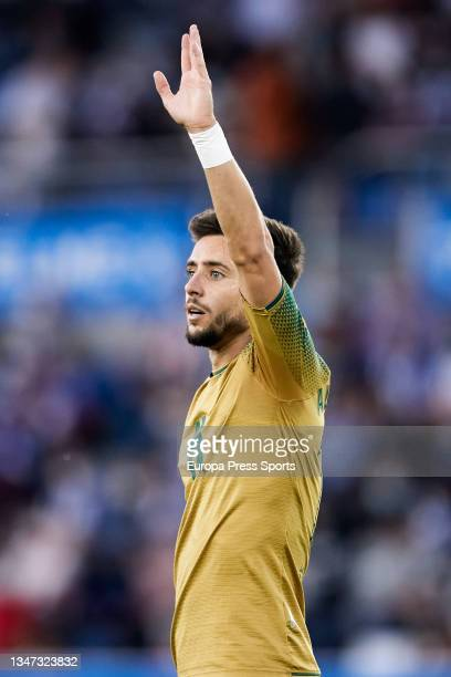 Alex Moreno of Real Betis gestures during the spanish league, LaLiga, football match between Deportivo Alaves and Real Betis Balompie at...