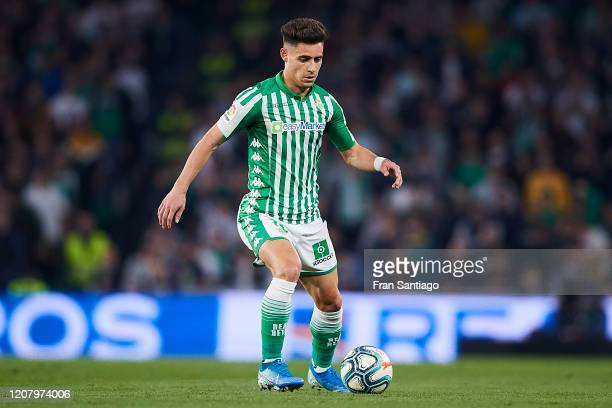Alex Moreno of Real Betis in action during the Liga match between Real Betis Balompie and RCD Mallorca at Estadio Benito Villamarin on February 21...