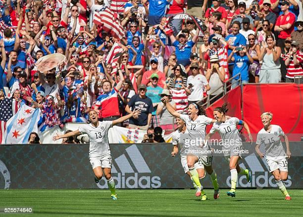 Alex Morgan Alex Krieger Lauren Holiday Carli Lloyd and Megan Rapinoe of team USA celebrate Lloyd's second goal during 2015 women's World Cup Soccer...
