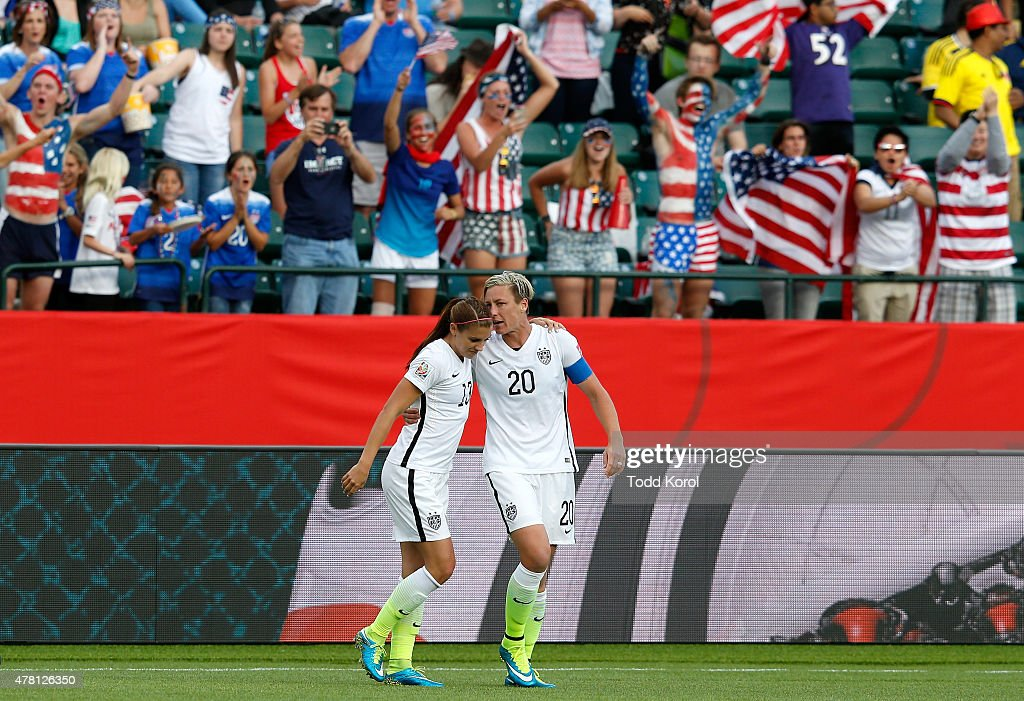 Alex Morgan #13 and Abby Wambach #20 of the United States celebrate after Morgan scores her first goal against goalkeeper Stefany Castano #1 of Colombia in the second half in the FIFA Women's World Cup 2015 Round of 16 match at Commonwealth Stadium on June 22, 2015 in Edmonton, Canada.