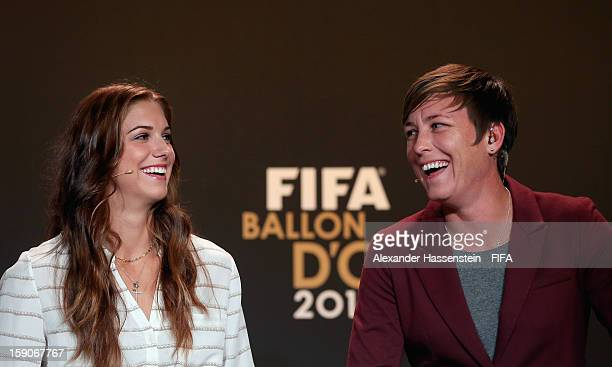 Alex Morgan and Abby Wambach of the USA during the Press Conference for the Nominees for the Women's World Player of the Year and World Coach of the...