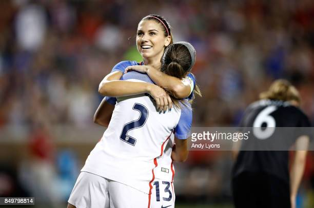 Alex Morgan and Mallory Pugh of the USA celebrate after Morgan scored a goal in the second half of the match against New Zealand at Nippert Stadium...