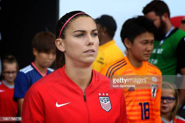 Alex Morgan before a women's soccer match between Japan and USA in the 2018 Tournament of Nations on July 26 2018 at Children's Mercy Park in Kansas...