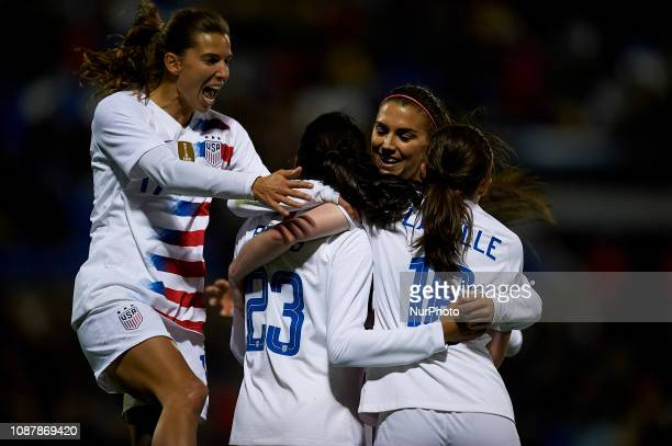 Alex Morgan Christen Press Tobin Heath and Rose Lavelle of USA celebrates the goal of his team during the friendly match between Spain and USA at...