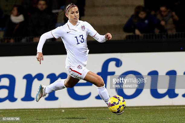 Alex Morgan in action during an international women friendly football match France vs USA on February 8 at the Moustoir stadium in Lorient Image by...