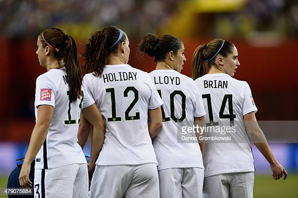 Alex Morgan Lauren Holiday Carli Llyod and Morgan Brian of the United States look on in the FIFA Women's World Cup 2015 SemiFinal Match at Olympic...