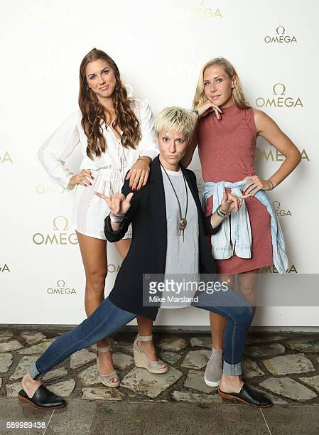 Alex Morgan Megan Rapinoe and Allie Long pictured at Swimming Legends night at OMEGA House Rio 2016 on August 15 2016 in Rio de Janeiro Brazil