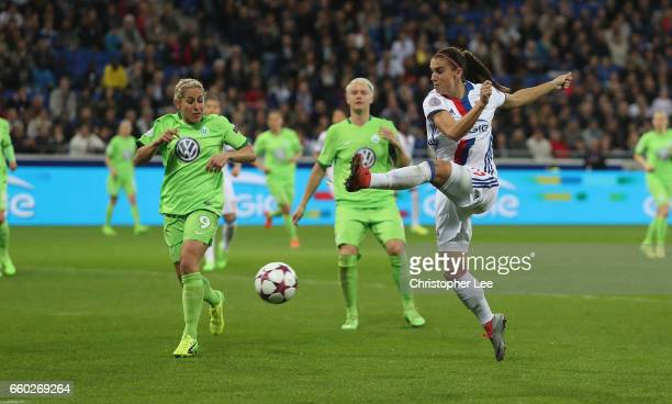 Alex Morgan of Olympique Lyon shoots during the Women's Champions League match between Lyon and Wolfsburg at Stade de Lyon on March 29 2017 in Lyon...