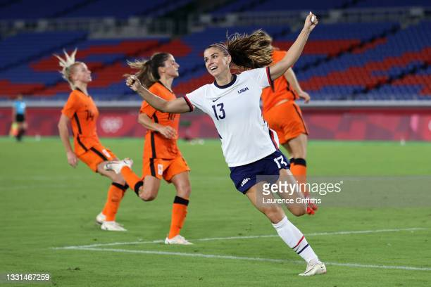 Alex Morgan of Team United States celebrates scoring a goal which is later disallowed during the Women's Quarter Final match between Netherlands and...