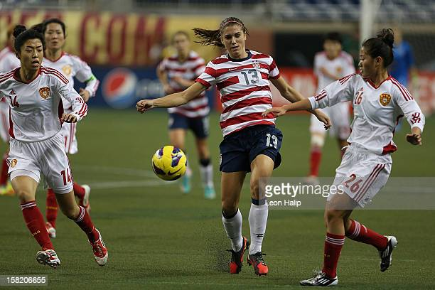 Alex Morgan of Team USA dribbles the ball during the game against China at Ford Field on December 8 2012 in Detroit Michigan USA defeated China 20
