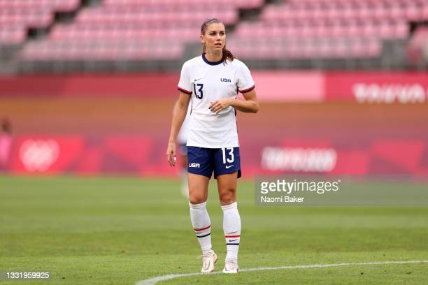 Alex Morgan of Team USA looks on during the Women's Football Semifinal match between USA and Canada at Kashima Stadium on August 02, 2021 in Kashima,...