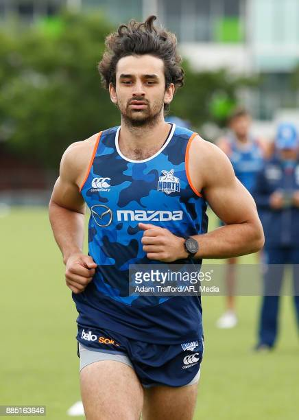 Alex Morgan of the Kangaroos runs the yoyo test during the North Melbourne Kangaroos training session at Arden St on December 4 2017 in Melbourne...