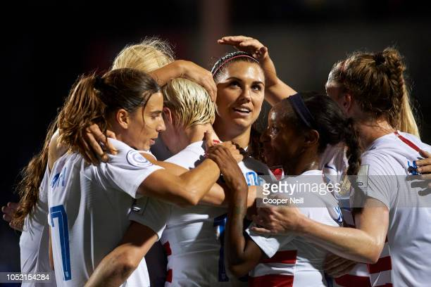Alex Morgan of the United States celebrates after scoring a goal against Jamaica during the first half of the CONCACAF Women's Championship...