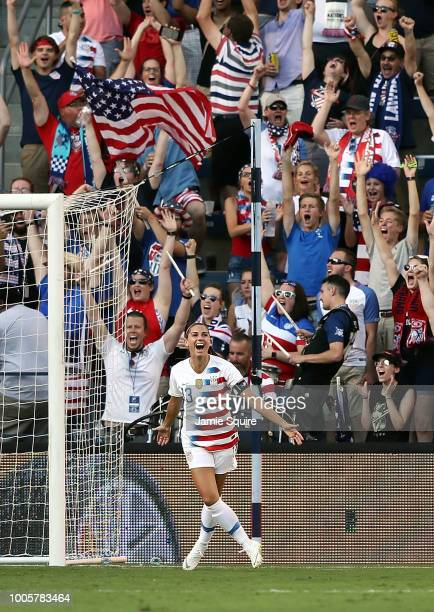 Alex Morgan of the United States celebrates after scoring during their Tournament Of Nations match against Japan at Children's Mercy Park on July 26...