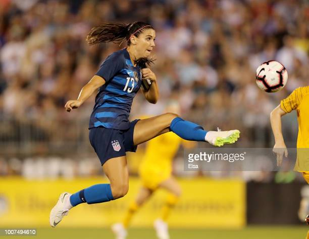Alex Morgan of the United States kicks the ball towards the net but is unable to score in the second half during the 2018 Tournament of Nations at...