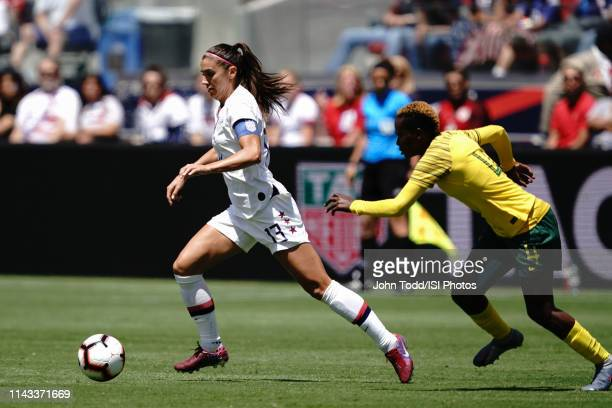 Alex Morgan of the United States, Noko Matlou of South Africa during an international friendly match between the womens national teams of the United...