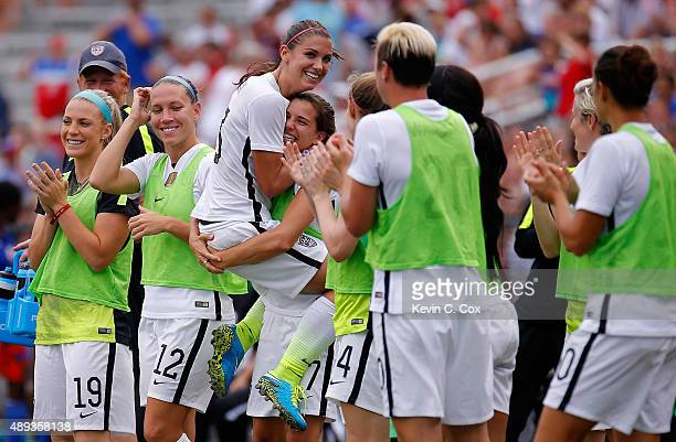 Alex Morgan of the United States of America celebrates after scoring against Haiti with Tobin Heath during the US Women's 2015 World Cup victory tour...